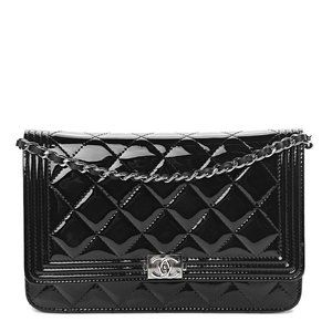 Boy Wallet on Chain Glazed Quilted Woc Black